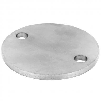 PLATINE RONDE BRUTE A 2 PERFORATIONS