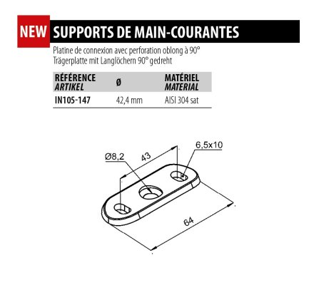 Support de main courante IN105-147 avec perforation oblong à 90°