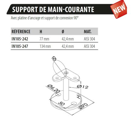 SUPPORT VERTICAL A ANGLE 90° POUR MAIN-COURANTE DE MURET
