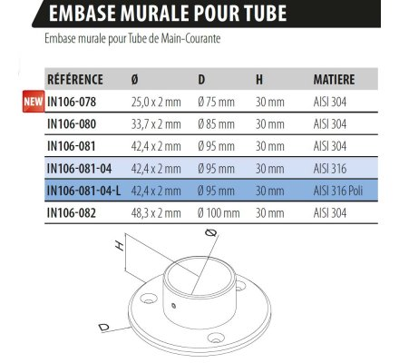 EMBASE MURALE POUR TUBE