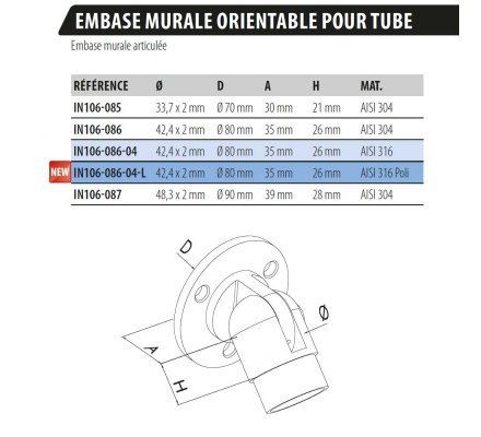 EMBASE MURALE ORIENTABLE POUR TUBE
