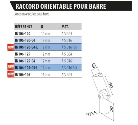 RACCORD ORIENTABLE POUR BARRE