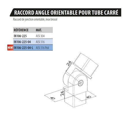RACCORD ANGLE ORIENTABLE POUR TUBE CARRE