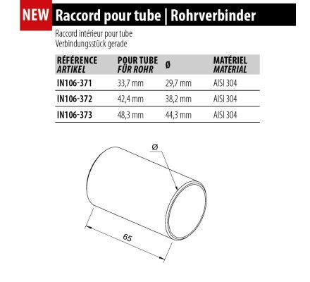 Raccord de Jonction Invisible pour Tube inox