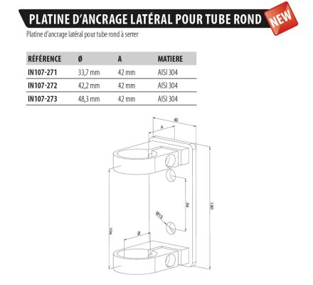 PLATINE RECTANGULAIRE D'ANCRAGE LATERAL POUR TUBE ROND