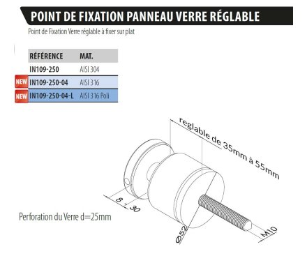 POINT FIXATION VERRE A ENTRETOISE REGLABLE