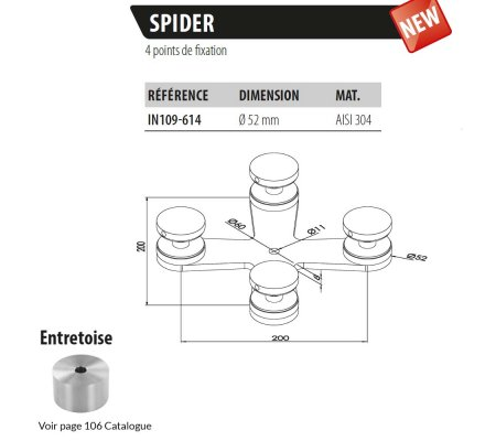 Spider 4 supports Ø50mm