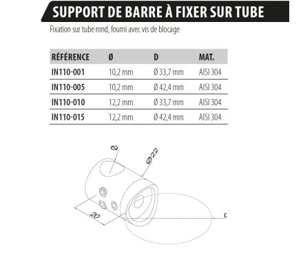 SUPPORT DE BARRE A FIXER SUR TUBE