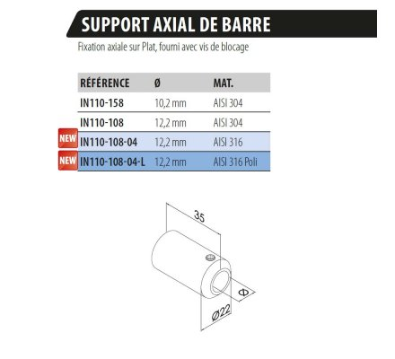 SUPPORT AXIAL DE BARRE SUR PLAT