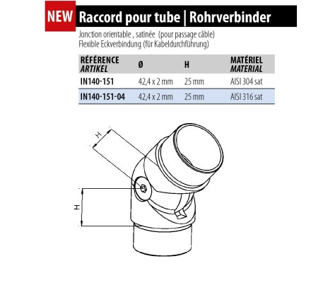 Raccord inox orientable pour main courante LED
